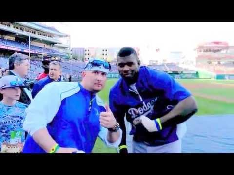 Yasiel Puig Los Angeles Dodgers signing autographs Nats Park Washington