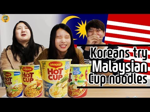 Koreans try Malaysian Maggi Hot cups  말레이시아 컵라면을 먹어보았다
