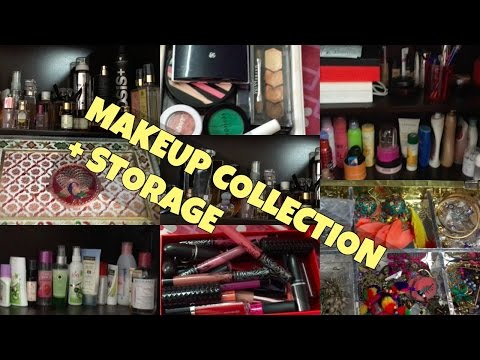 My makeup collection , makeup organisation & makeup storage | Indian Vanity tour