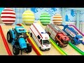 Learn Colors with Helicopter Tractor, Water Tank, Fire Truck in Surprise Egg Parking Vehilce for Kid