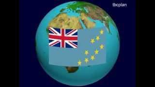 Tuvalu Flag on the Earth