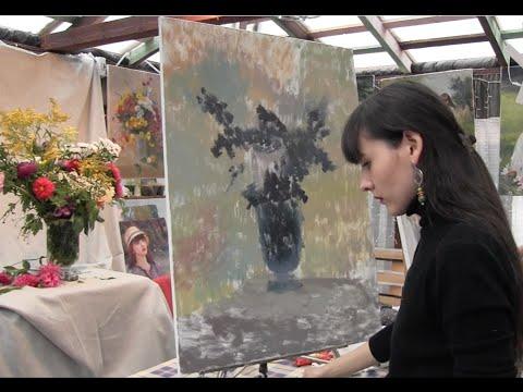 Букет цветов с натуры, художник Фания Сахарова