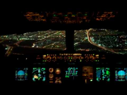 Airbus A330 night time approach from the flight deck ...