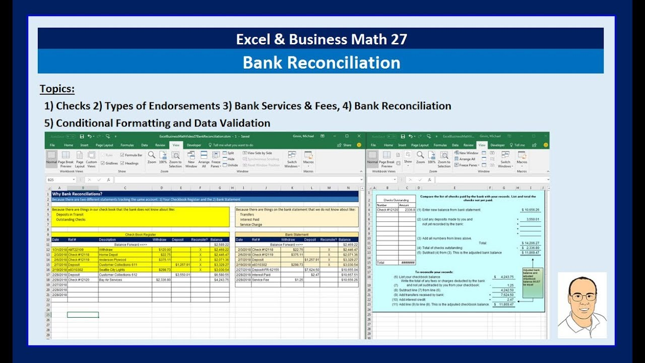 excel business math 27 bank reconciliation made easy youtube