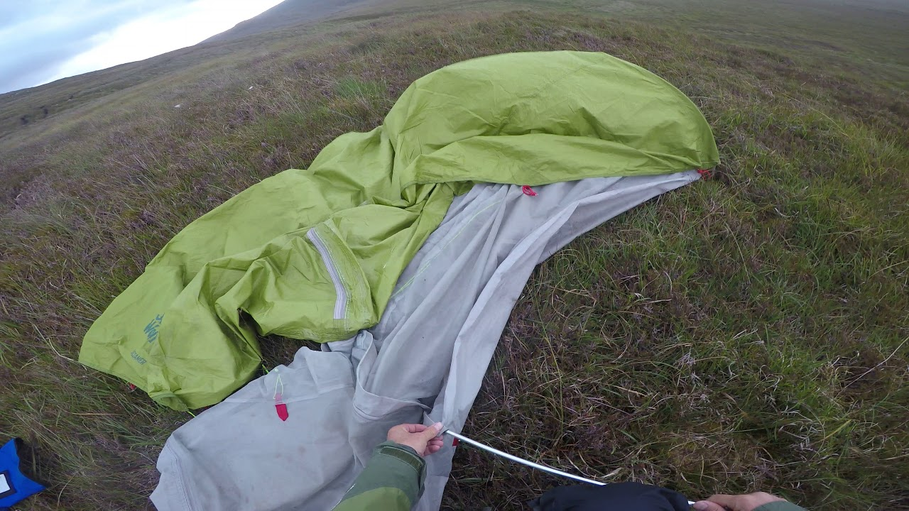 Wild camping on Mula moor with the Jack Wolfskin gossamer tent in wind p1