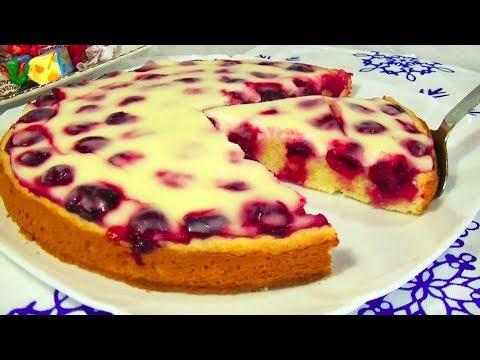Быстрый Вишнёвый Пирог в Сметанной Заливке – Нежнее я не Пробовала!