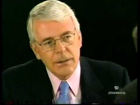 Charlie Rose with John Major former Prime Minister of the UK US TV PBS channel