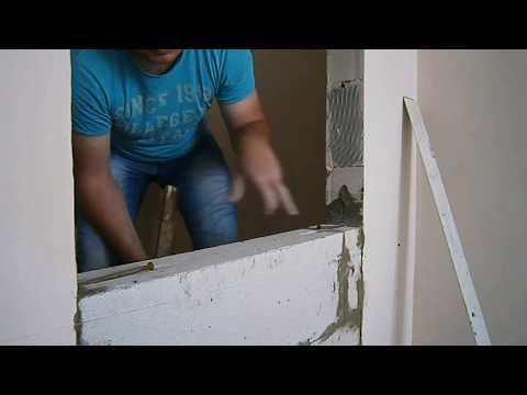 как заложить дверной проем пеноблоками видео