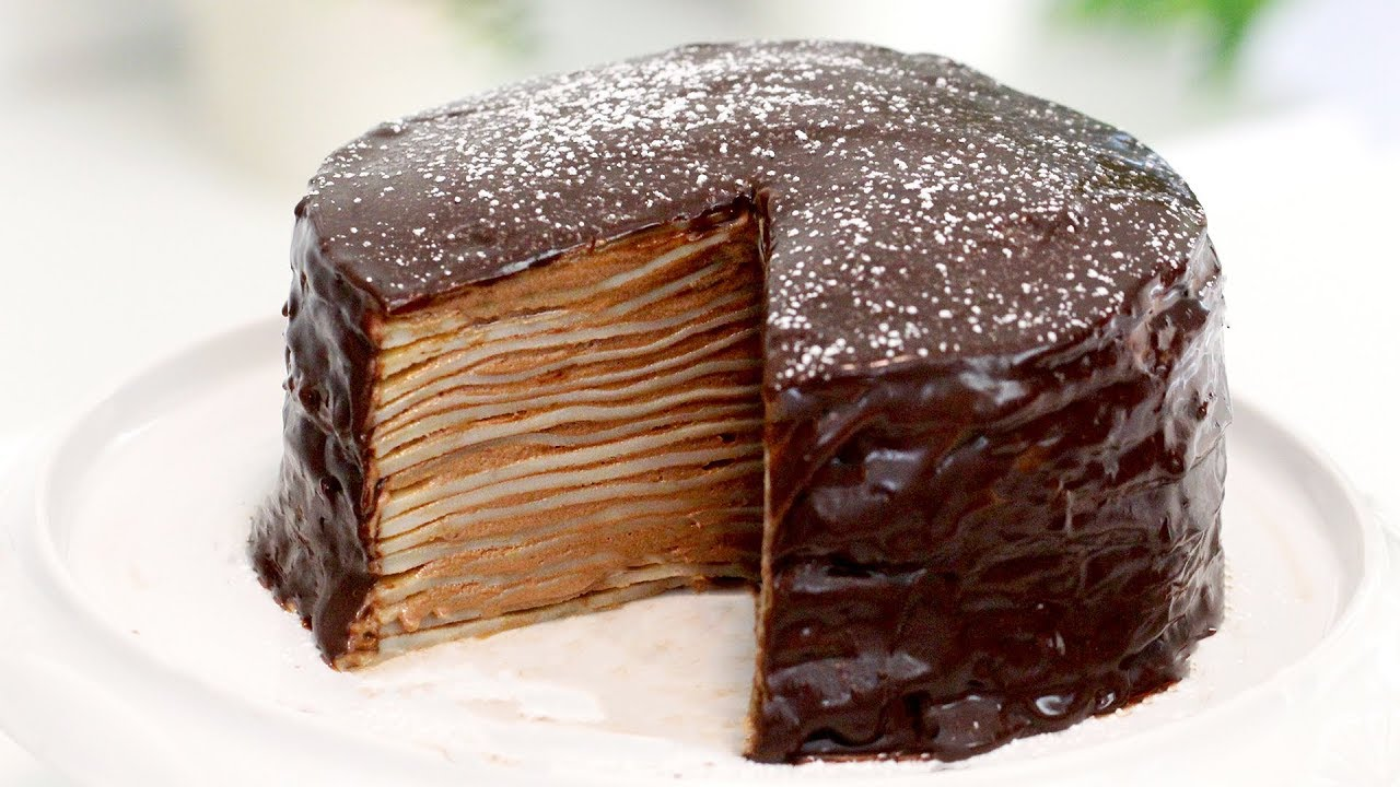Nutella Mille Crepe Cake Homemade Crepe Cake Nutella Crepe Cake With Nutella Cream And Ganache Youtube