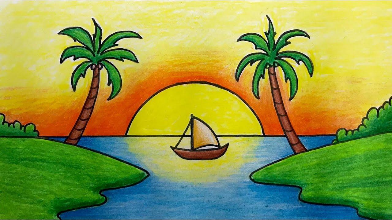 Kuru Boya Manzara Resmi Çizimi Nasıl Yapılır ( Deniz Manzara Çizimi ve Boyama ) - Kolay Çizimler