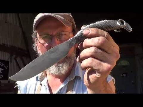Blacksmithing - Forging a Cable Damascus Rams Head Knife - P