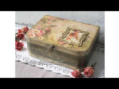 Decoupage Box Tutorial - DIY. How To Use French Gilding Wax. Shabby Chic