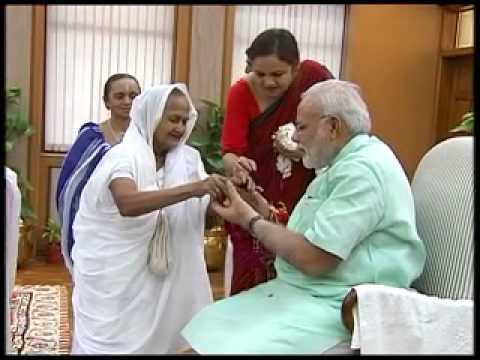 Children and women celebrate Rakshabandhan with PM Narendra Modi