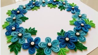 Paper Quilling Wreath For beginner Learning video 28 // Paper Quilling Flower Wreath