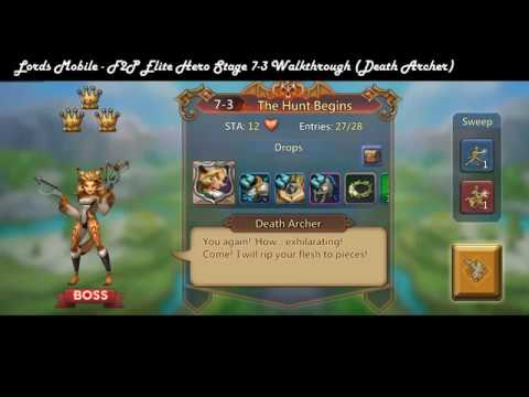 Lords Mobile   F2P Elite Hero Stage 7-3 Walkthrough (Death Archer)