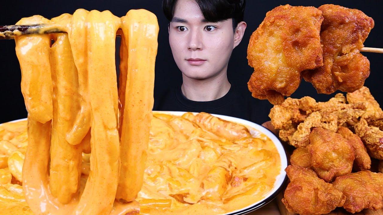 태리 로제 떡볶이 닭껍질튀김 치킨 먹방ASMR MUKBANG ROSE SPICY TTEOKBOKKI & FRIED CHICKEN ロゼ トッポッキ チキン eating sounds