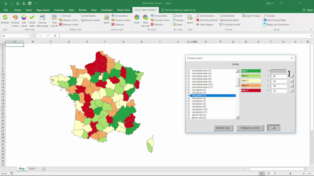 France Map With Regions.Excel Map France Departments Regions How To Use The Software