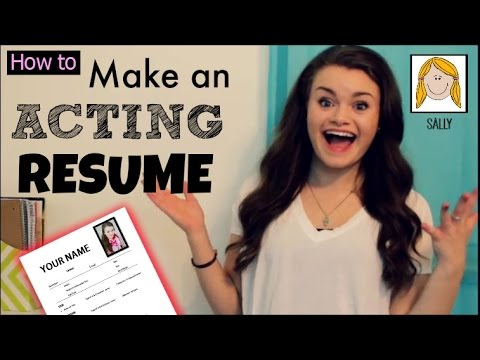 how to make an acting resume youtube
