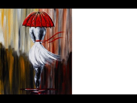 Girl in the Rain | Umbrella Art  | Beginner Acrylic Painting Lesson