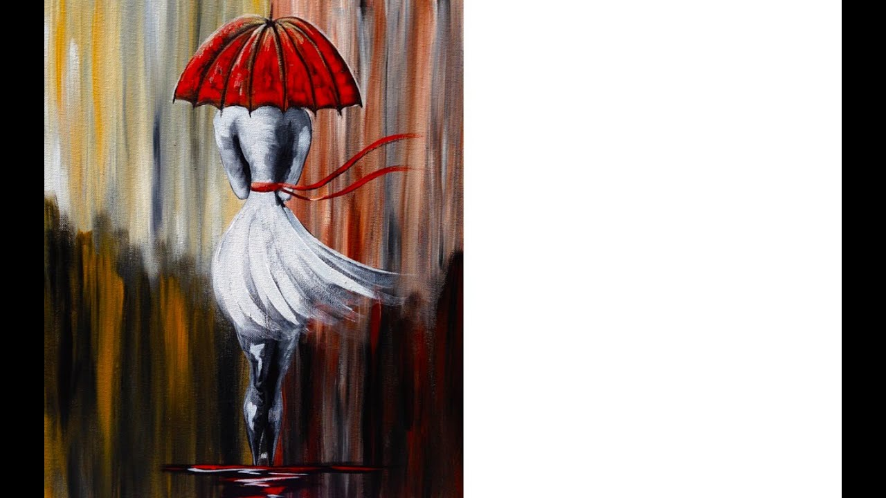 Girl In The Rain Umbrella Art Beginner Acrylic