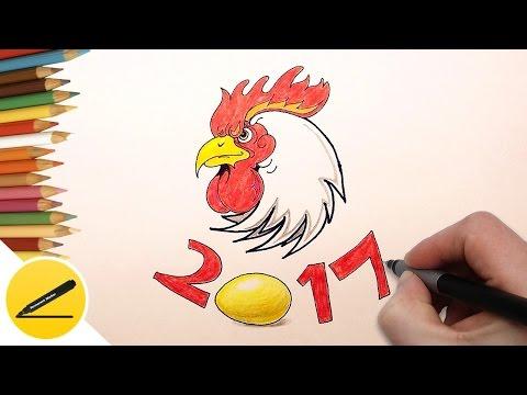 2017 ГОД ОГНЕННОГО ПЕТУХА - Новогодние Рисунки - Как оформить плакат, календарь, новогоднюю открытку
