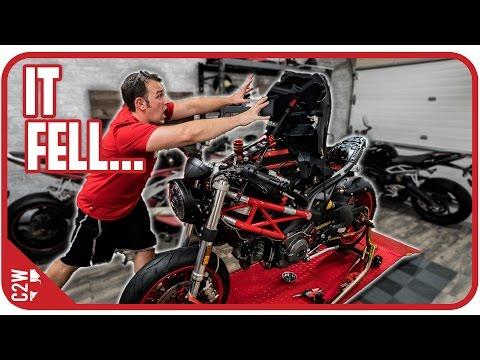 I should have secured that better... [Wrecked Bike Rebuild - Ep. 12 - Ducati Monster 1100]