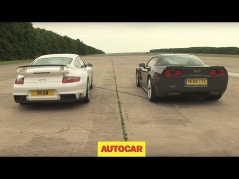 Porsche 911 GT2 v Corvette ZR1 - drag race by autocar.co.uk