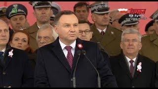 Przemówienie prezydenta RP Andrzeja Dudy na Placu Marszałka Józefa Piłsudskiego w Warszawie