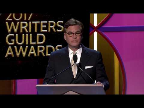 Jeff Daniels presents the Writers Guild TV Laurel Award for TV Writing to Aaron Sorkin