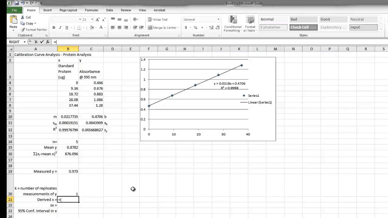 Linear Least Squares Analysis with MS Excel - YouTube