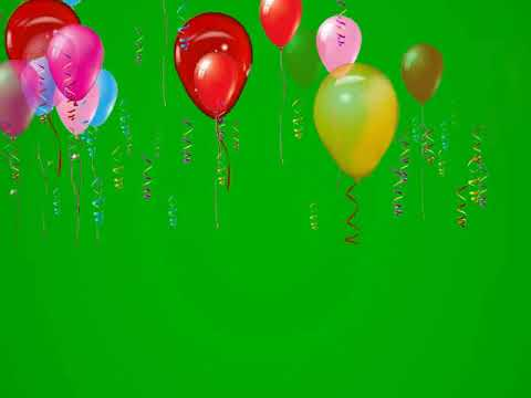 Green Screen Birthday Balloons Flying Animation