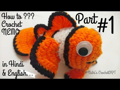 How to Crochet Clown Fish PART #1- Crochet Nemo from Finding NEMO Movie Tutorial in Hindi ENGLISH
