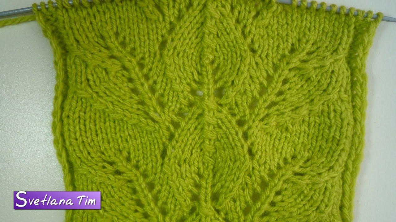 вязания спицами схемы листьев