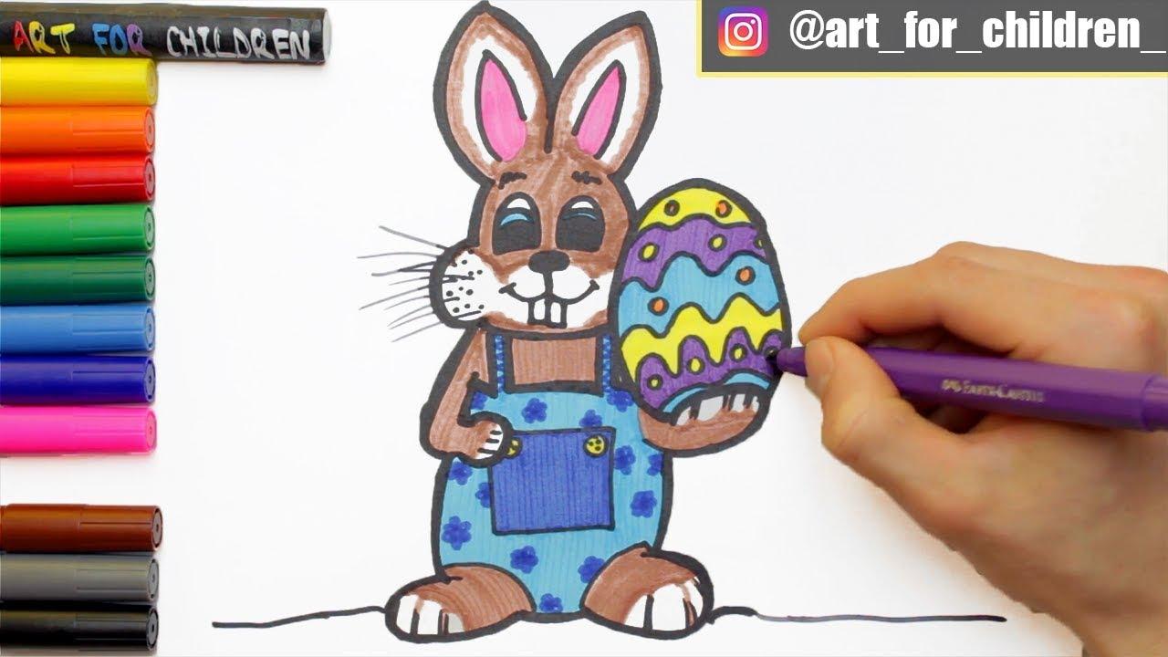 Osterhase Zeichnen Ausmalen Fur Kinder Schritt Fur Schritt Malvorlagen Youtube
