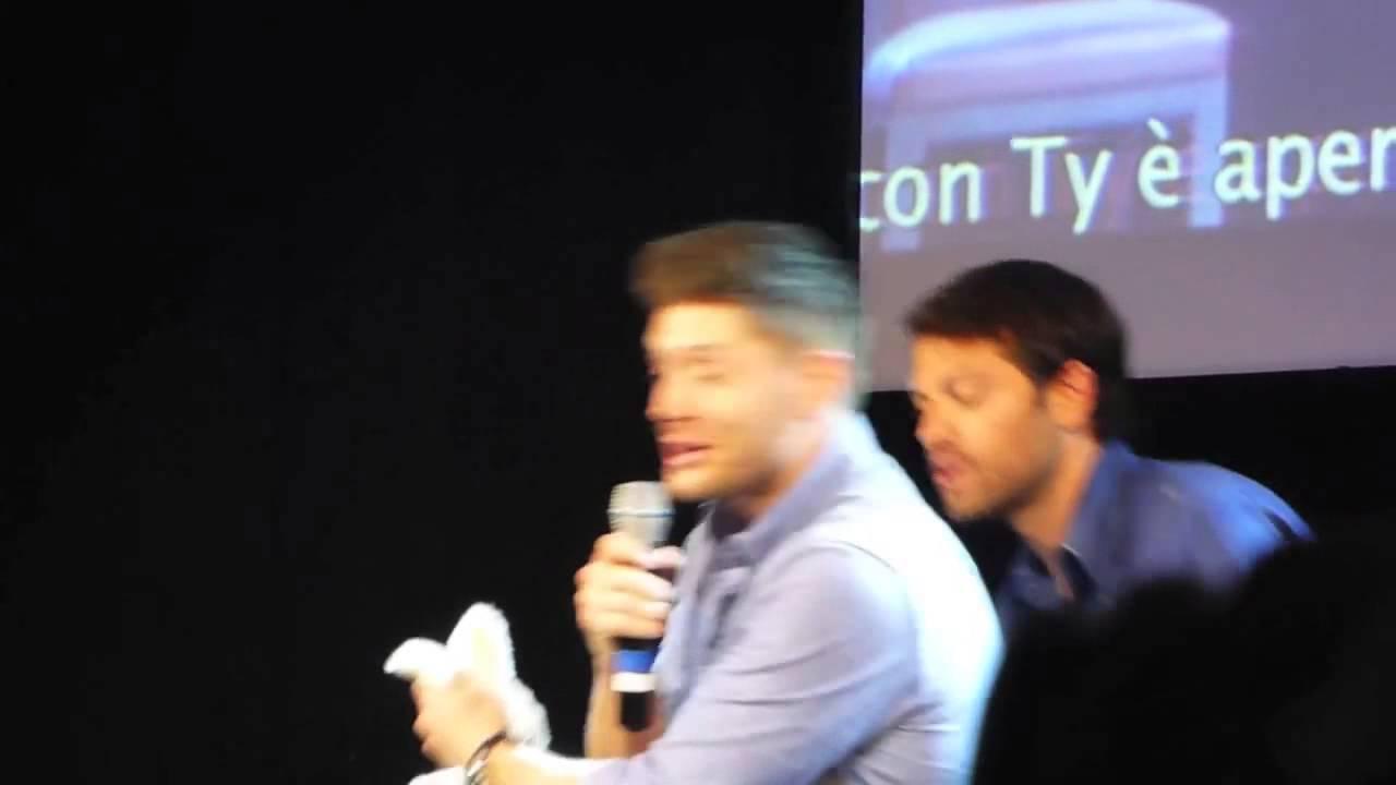 Jensen Ackles, Misha Collins And Rabbit At #JIBCon 2014   YouTube