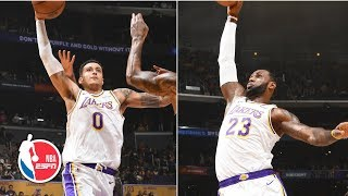 LeBron James, Kyle Kuzma combine for 58 points in win | Kings vs. Lakers | NBA Highlights