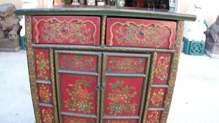 Tibetan Antique Flower Painting Side Table Cabinet Wk1896