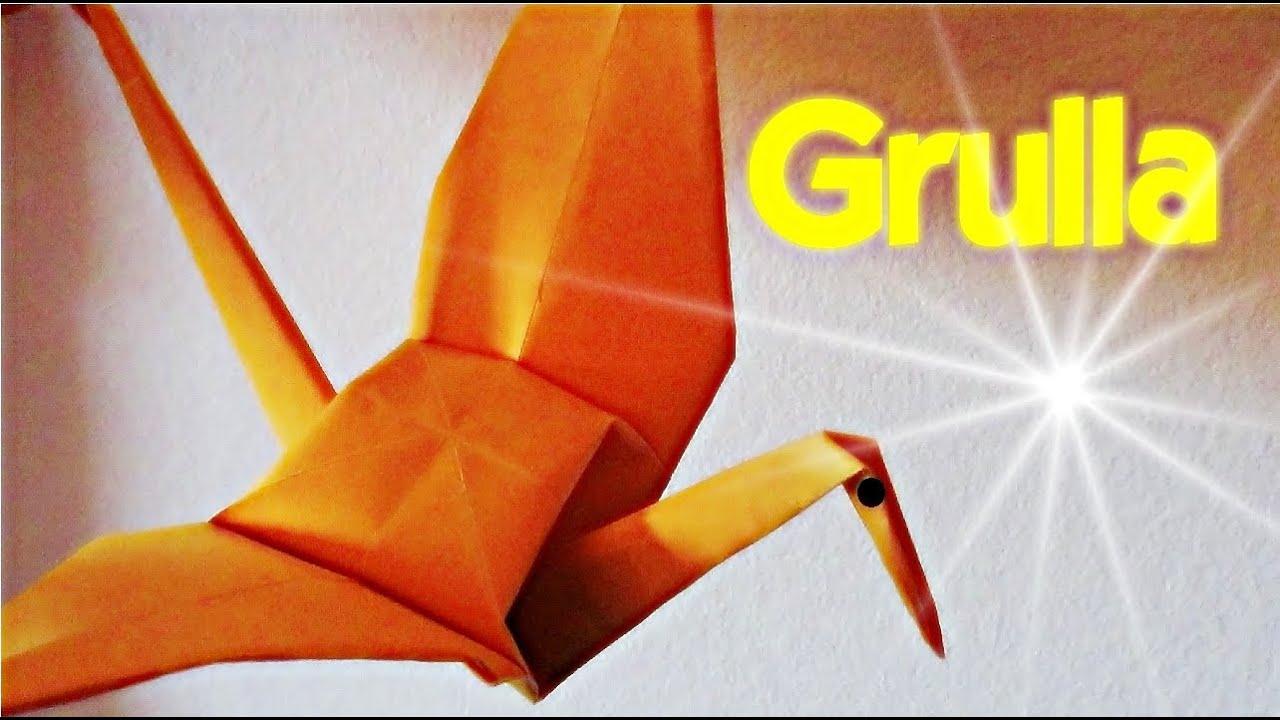 C mo hacer una grulla de papel papiroflexia youtube - Como hacer jarrones de papel ...