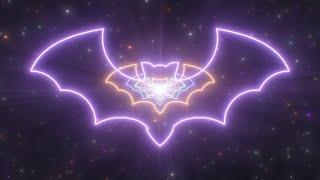 Scary Bat Outline Shape Creepy Halloween Neon Lights Tunnel Night Sky 4K VJ Loop Moving Background