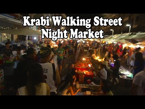 Walking Street Night Market Krabi Town. Street food & shopping in Krabi, Thailand