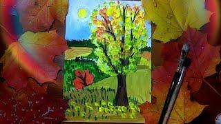 Рисуем осенний пейзаж!Как нарисовать осень🍁