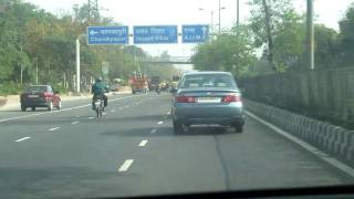 Driving in New Delhi along the Inner Ring Road, from Delhi Cantonment to Bhikaji Cama Place