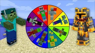 Minecraft ZOMBIE WHEEL OF FORTUNE / SPIN THE WHEEL TO SURVIVE !! Minecraft