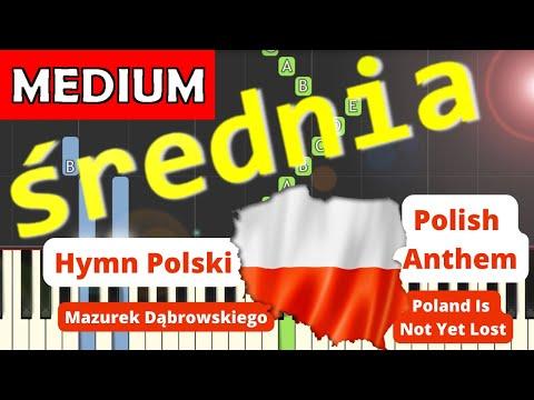 🎹 Hymn Polski (Mazurek Dąbrowskiego, POLISH ANTHEM) - Piano Tutorial (średnia wersja) (MEDIUM) 🎹