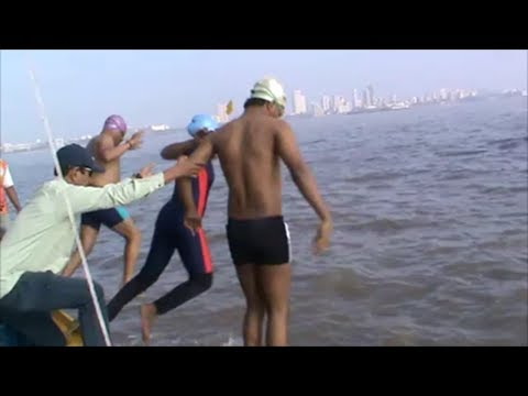 Father Mother & Son Swim together in ARABIAN SEA