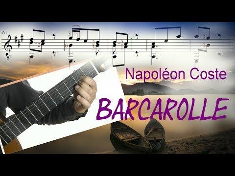Barcarolle (Napoléon Coste) - Guitar Tutorial (Score & TAB) ♫♫
