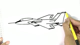 How to draw a Fighter Jet, aeroplane - in easy steps for children. beginners