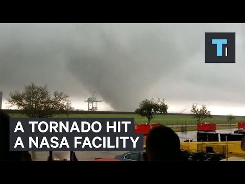 Incredible footage of a tornado hitting NASA's New Orleans facility