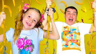 Nastya and Dad - the most one wonderful family day of fun. Story for children