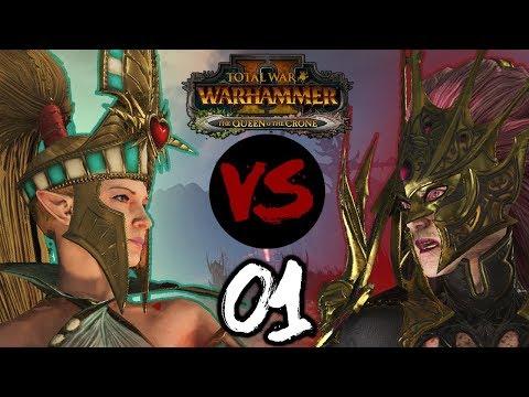 ALARIELLE VS HELLEBRON! Total War: Warhammer 2  High Elves VS Dark Elves w MrSmartDonkey #1